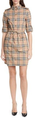 Burberry Vintage Check Stretch Cotton Long Sleeve Shirtdress