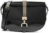 Lanvin Lien Smooth And Patent-leather Shoulder Bag - Black