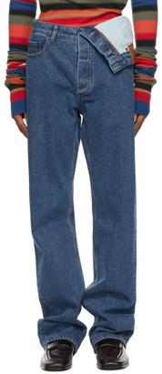 Y/Project Navy Classic Asymmetric Waist Jeans