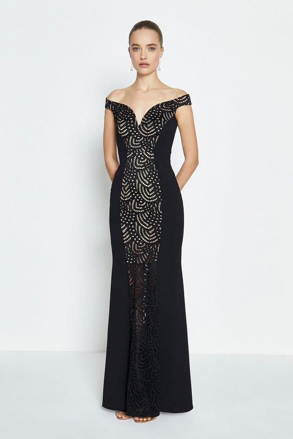Coast Lace Panelled Bardot Fishtail Maxi Dress