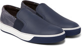 Lanvin - Leather, Suede And Rubber Slip-on Sneakers