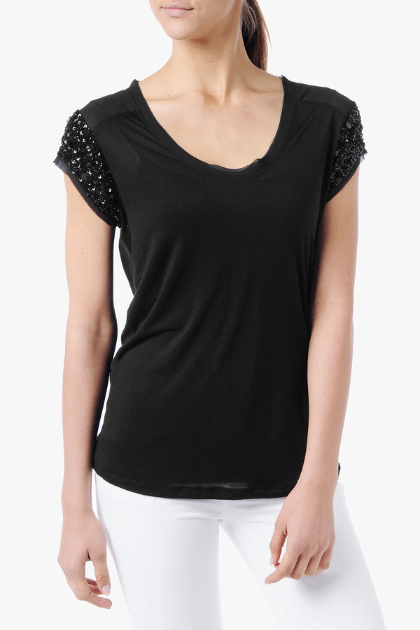 7 For All Mankind Beaded Sleeve Tee In Black
