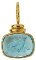 Elizabeth Locke 19K Gold Cab Ostrich & Putto Venetian Glass Intaglio Pendant