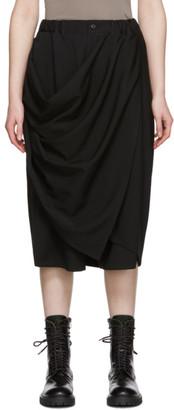 Yohji Yamamoto Black Gabardine Draped Skirt Trousers