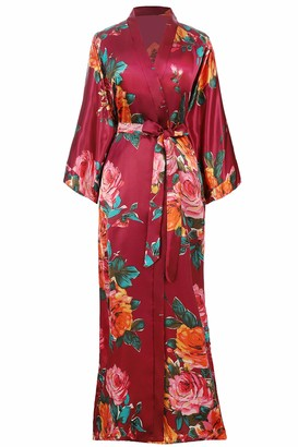 BABEYOND Women's Kimono Dressing Gown Satin Kimono Cardigan Long Printed Robe Chinese Japanese Style for Nightwear Girl's Bonding Party Wedding Pajama Party 135cm/53inches(Winered)