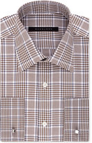 Sean John Men's Classic-Fit Brown Check French Cuff Dress Shirt