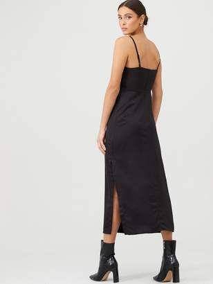Very Ruched Front Slip Dress - Black