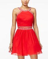 B. Darlin Juniors' 2-Pc. Embellished Fit & Flare Dress