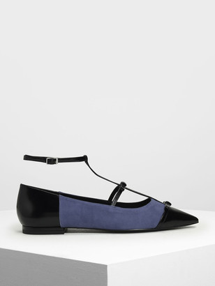 Charles & Keith Kid Suede Ribbon Detail Ballerina Flats
