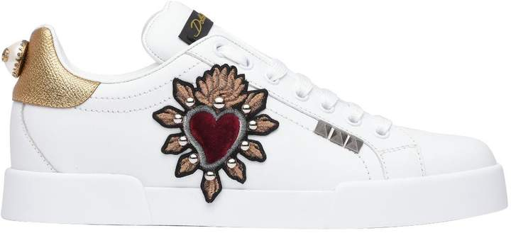 Dolce & Gabbana Embroidered Heart White Sneakers