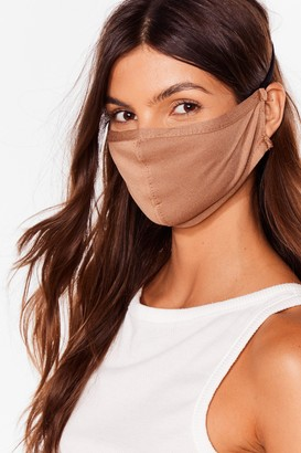 Nasty Gal Womens All Mouth Fashion Face Mask - Camel