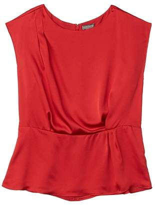 Vince Camuto Extended Shoulder Cinch Waist Rumple Hammer Blouse (Rhubarb) Women's Clothing