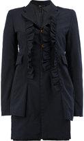 Comme des Garcons ruffle trim long jacket - women - Polyester - M