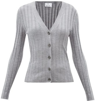 Allude V-neck Ribbed Wool Cardigan - Light Grey