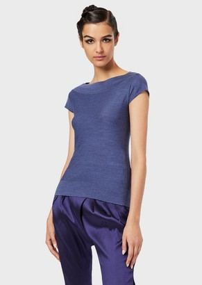 Giorgio Armani Knit Top In Virgin Wool To Wear With Jackets