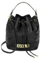 Moschino Drawstring Leather Bucket Bag