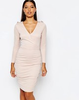 Lipsy Wrap Front Slinky Body-Conscious Dress