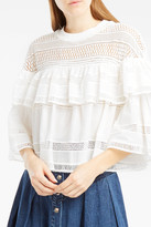 Sea Lace-Panelled Ruffle Top