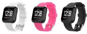 Posh Tech Unisex Fitbit Versa Assorted Silicone Watch Replacement Bands - Pack of 3