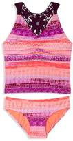 Gossip Girl Girls' Crochet Trimmed Print Tankini - Sizes 7-16