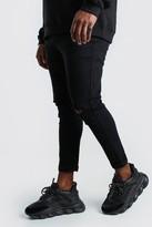 boohoo Mens Black Big And Tall Super Skinny Ripped Knee Jeans, Black