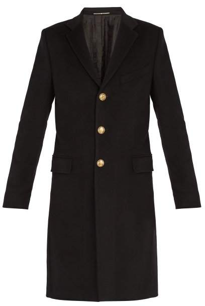 Givenchy Single Breasted Wool And Cashmere Blend Overcoat - Mens - Black