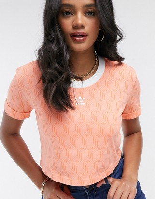 adidas logo printed cropped top in coral
