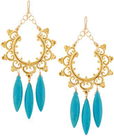 Devon Leigh Golden Howlite Hoop Drop Earrings