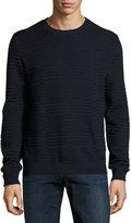 Armani Collezioni Bicolor Jacquard Crewneck Sweater, Navy/Black