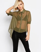 Religion Whirl Shirt In Khaki Green