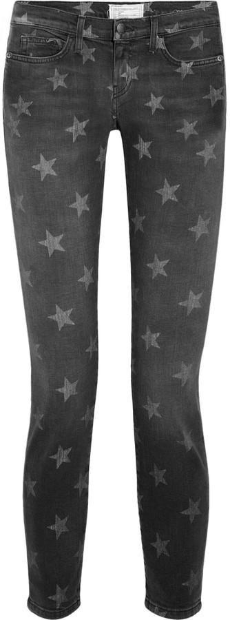Current/Elliott The Stiletto star-print low-rise skinny jeans