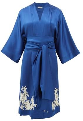 Carine Gilson Chantilly Lace-trimmed Silk Robe - Womens - Blue Multi