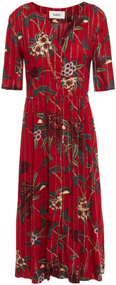 BA&SH Shirred Metallic Floral-print Jacquard Midi Dress