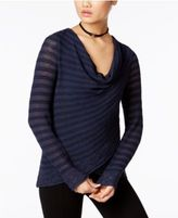 INC International Concepts Petite Striped Cowl-Neck Crossover Sweater, Only at Macy's