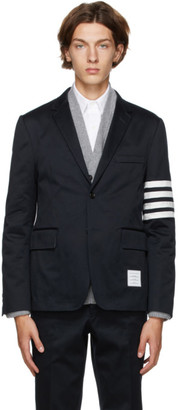 Thom Browne Navy 4-Bar Unconstructed Sport Blazer