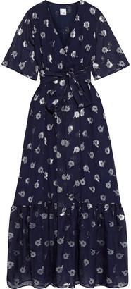 Iris & Ink Myrtle Belted Metallic Fil Coupe Chiffon Maxi Dress