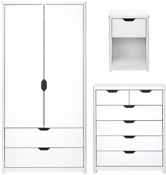 Aspen 3 Piece Package - 2 Door, 2 Drawer Wardrobe, 4 + 2 Chest and Bedside Table - White Oak Effect