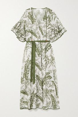 Zimmermann Empire Belted Ruffled Printed Cotton-voile Midi Dress - White