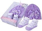 Laribbons Infant Essentials Baby Girls Crochet Hat & Socks Gift Set (Purple)