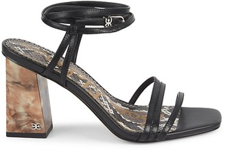 Sam Edelman Doriss Leather Ankle-Wrap Block Heel Sandals