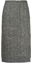 No.21 Herringbone tweed step-hem skirt
