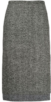 No.21 Herringbone tweed step-hem skirt