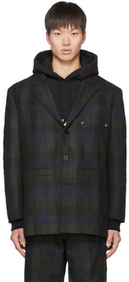 Études Green and Navy Check Earth Wool Blazer