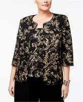 Alex Evenings Plus Size Scroll-Print Jacket and Shell