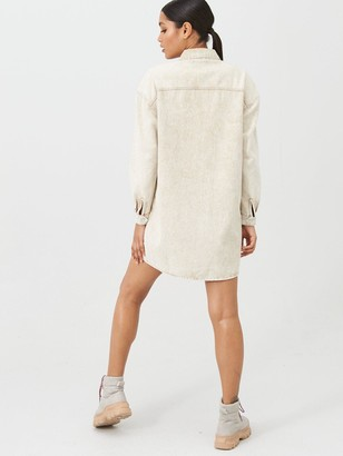 Missguided Utility Pocket Zip Through Light Wash Denim Shirt Dress - Stone