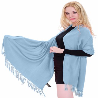 Baby Blue Solid Colour Design Nepalese Shawl Scarf Wrap Stole Throw Head Wrap Face Cover Pashmina CJ Apparel NEW
