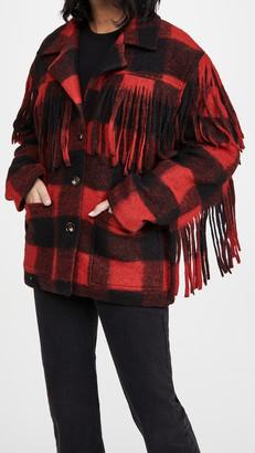 Divine Heritage Fringe Plaid Coat