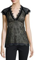 Nanette Lepore Cap-Sleeve Paisley Lace Top, Black