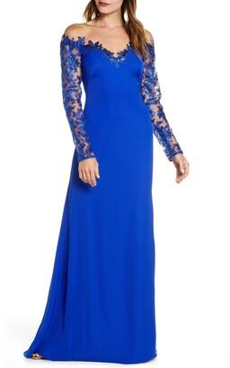 Tadashi Shoji Long Sleeve Sequin Lace Gown
