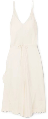Chloé Tie-front Scalloped Satin-crepe Midi Slip Dress